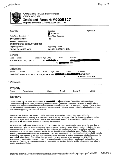 Gates' Incident Report | page 1